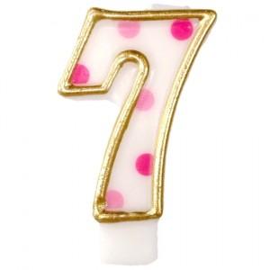 Kerze Pink Dots, Zahl 7