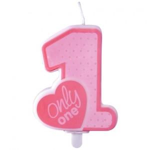 Only One Geburtstagserze, Zahl 1, Rosa