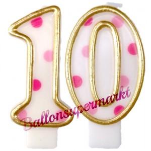 Kerzen Pink Dots Zahl 10