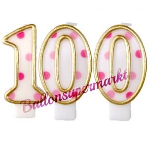 Kerzen Pink Dots Zahl 100