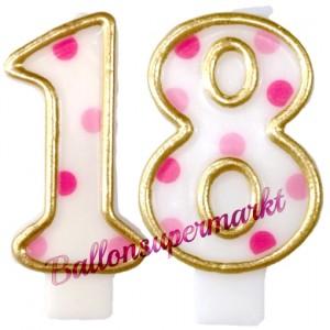 Kerzen Pink Dots Zahl 18