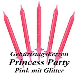 Geburtstagskerzen in Pink mit Glitzer