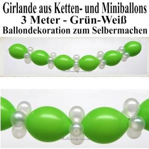 Ballongirlande zum Selbermachen - Kettenballons und Miniballons Grün-Weiß, 3 Meter