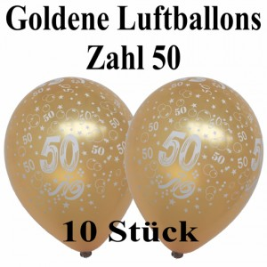 Goldene Luftballons Zahl 50, 10 Stück