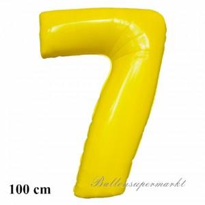 Zahl 7 Gelb, großer Luftballon aus Folie mit Helium