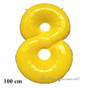 Zahl 8 Gelb, großer Luftballon aus Folie
