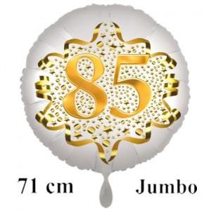 Großer Zahl 80 Luftballon aus Folie zum 85. Geburtstag, 71 cm, Weiß/Gold, heliumgefüllt