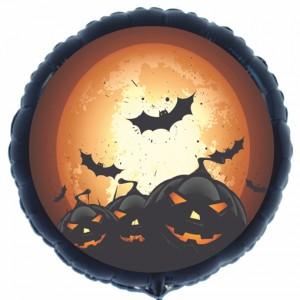 Halloween Luftballon aus Folie, schwarzer Rundballon mit Kürbissen und Fledermäusen, inklusive Helium