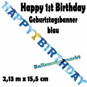 Banner Happy 1st Birthday, blau