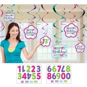 Happy Birthday Swirls mit Zahlen, Deko-Wirbler zum Geburtstag