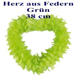 Herz aus Federn in Grün