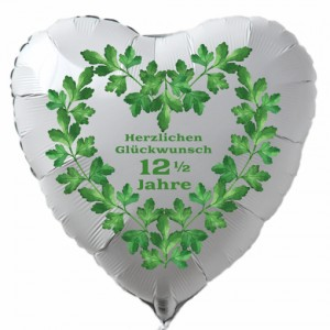 Weißer Herzluftballon aus Folie zur Petersilienhochzeit, Herzlichen Glückwunsch 12 ½ Jahre