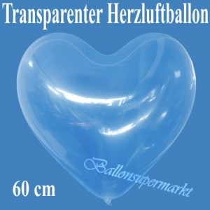 Großer transparenter Herzuftballon, 60 cm