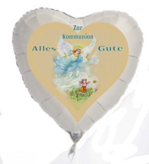Luftballon Herz, Zur Kommunion Alles Gute, Kommunionskind Mädchen