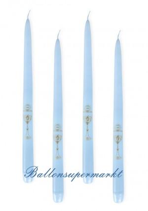 Kerzen zur Kommunion, Tischdekoration hellblau