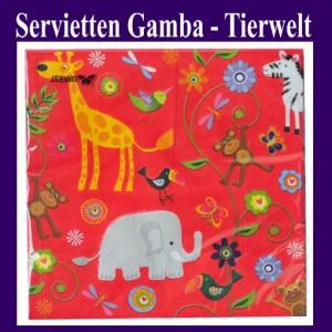Servietten Kindergeburtstag, Gamba Tierwelt, Zoo, Papierservietten 20 Stück, 3-lagig