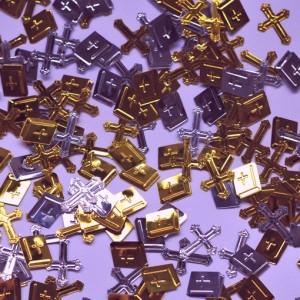 Konfetti Streudeko Tischdekoration, silberne Kreuze, goldene Kreuze und Bibeln