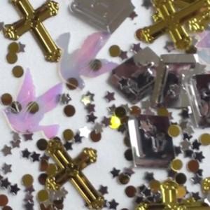 Konfetti goldene Kreuze, Tauben und Gebetsbücher, Festdekoration Kommunion und Hochzeit