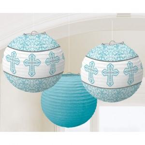 Lampions mit Kreuzen, Hellblau, Dekoration