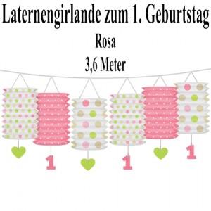 Laternengirlande zum 1. Geburtstag, Rosa
