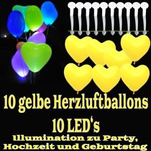LED-Herzluftballons, Gelb , 10 Stück