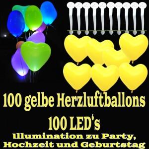 LED-Herzluftballons, Gelb , 100 Stück