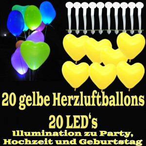 LED-Herzluftballons, Gelb , 20 Stück