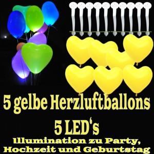 LED-Herzluftballons, Gelb , 5 Stück