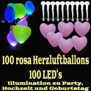 LED-Herzluftballons, Rosa, 100 Stück
