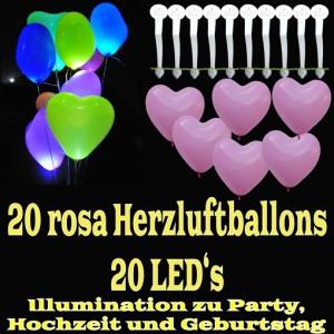 LED-Herzluftballons, Rosa, 20 Stück