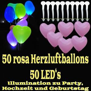 LED-Herzluftballons, Rosa, 50 Stück