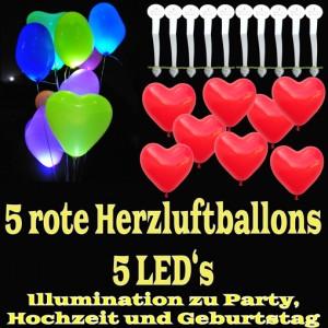 LED-Herzluftballons, Rot , 5 Stück