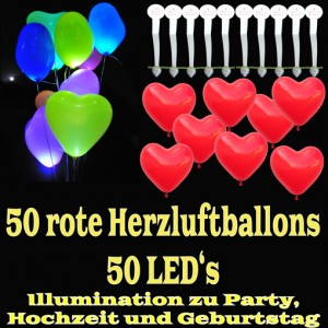 LED-Herzluftballons, Rot , 50 Stück