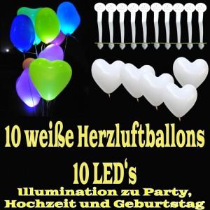 LED-Herzluftballons, Weiß, 10 Stück
