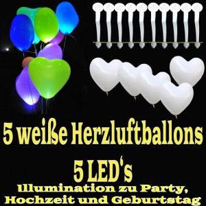 LED-Herzluftballons, Weiß, 5 Stück