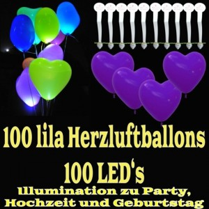 LED-Herzluftballons, Lila , 100 Stück