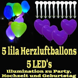 LED-Herzluftballons, Lila , 5 Stück