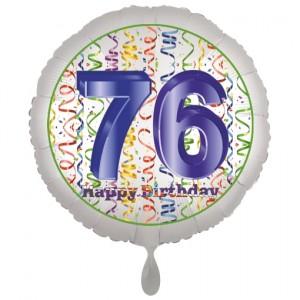 Luftballon aus Folie, Satin Luxe zum 76. Geburtstag, Rundballon weiß, 45 cm