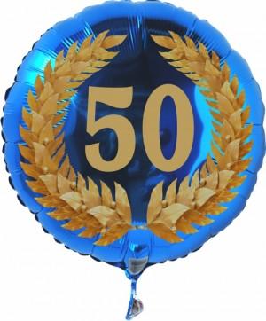 Luftballon aus Folie mit Ballongas, Zahl 50 im Lorbeerkranz, zum 50. Geburtstag, Jubiläum oder Jahrestag
