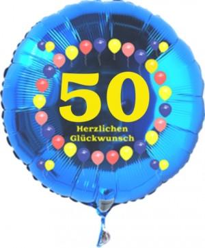 Luftballon aus Folie zum 50. Geburtstag, blauer Rundballon, Zahl 50, Balloons, Herzlichen Glückwunsch, inklusive Ballongas