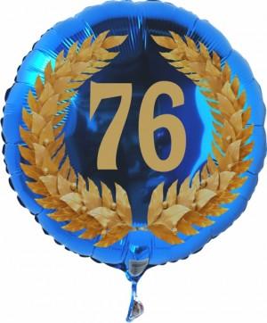 Luftballon aus Folie mit Ballongas, Zahl 76 im Lorbeerkranz, zum 76. Geburtstag, Jubiläum oder Jahrestag