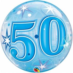 Luftballon Bubble zum 50. Geburtstag, Blau ohne Helium/Ballongas