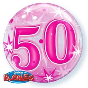 Luftballon Bubble zum 50. Geburtstag, Pink ohne Helium/Ballongas