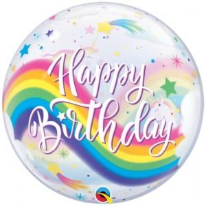 Luftballon aus PVC , Bubble Happy Birthday Regenbogen Einhörner inklusive Helium