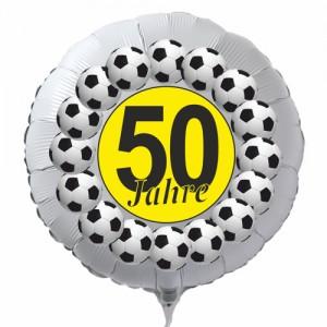 Luftballon aus Folie zum 50. Geburtstag, weisser Rundballon, Fußball, schwarz-gelb, inklusive Ballongas