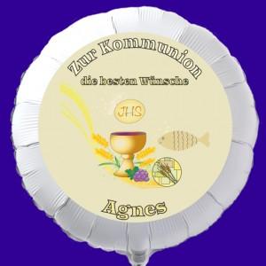 Luftballon zur Kommunion mit dem Namen des Kommunionkindes