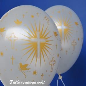 Luftballons in Weiß mit goldenen Religionssymbolen, zu Konfirmation und Kommunion