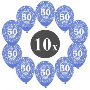 """Luftballons mit der Zahl 50, 10 Stück, Kristall, Blau, 12"""", 28-30 cm"""