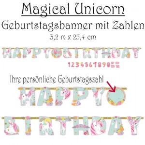Kindergeburtstagsbanner Magical Unicorn mit Zahlen