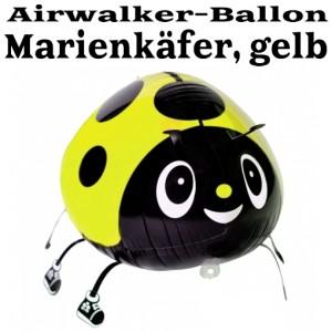 Airwalker Luftballon, Mariekäfer, gelb, mit Helium laufender Tier-Ballon